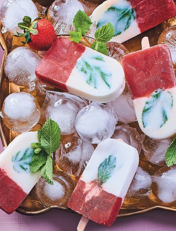 Strawberry, mint, watermelon and coconut cream popsicles