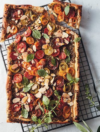 Tomato and green olive tapenade tart