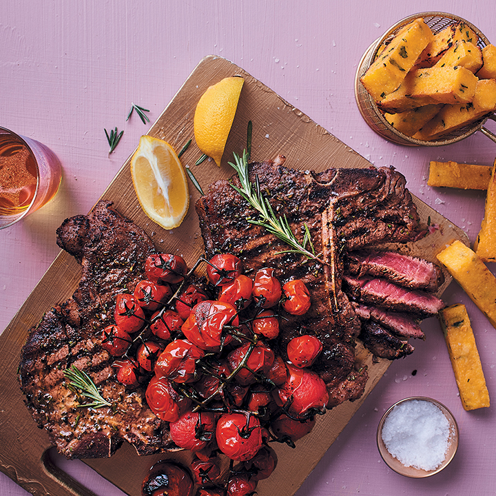 Florentine steak with polenta chips and balsamic tomatoes
