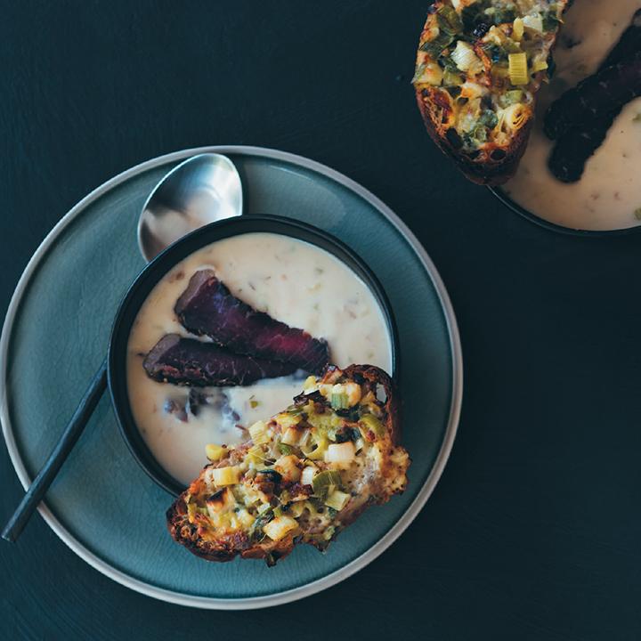 Biltong soup with Gruyère and leek crostini