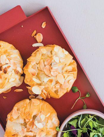 Boursin, feta, leek and almond filo pies