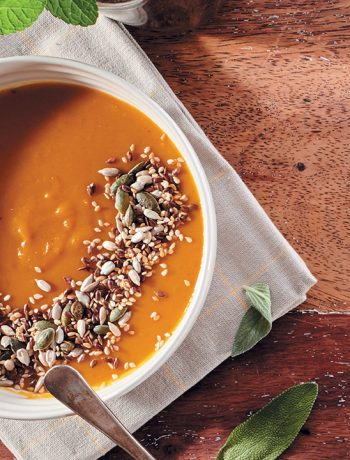 Butternut-and-coconut soup with toasted seeds