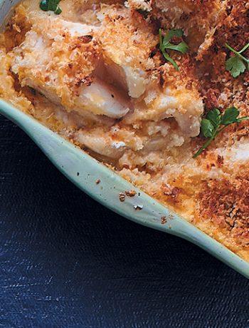 Cheesy baked kingklip