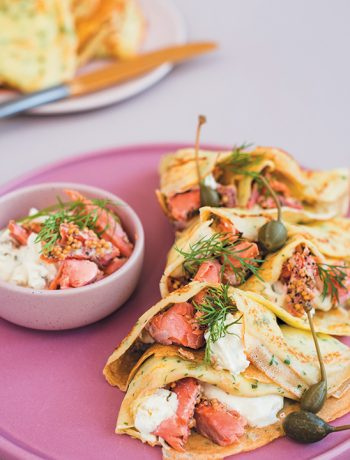 Herby crêpes with ricotta, feta and hot-smoked trout