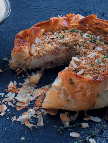 Pear and ginger crumble galette