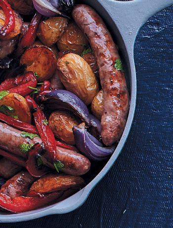 Roasted lamb sausage, potato and pepper tray bake