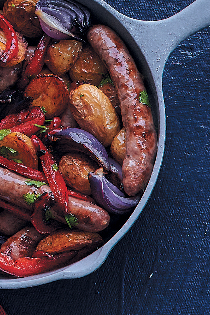 Roasted lamb sausage, potato and pepper tray bake