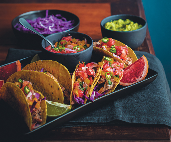 Smoky pulled pork belly tacos with grapefruit salsa